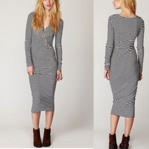 Free People Beach Striped Long Sleeve Maxi Dress